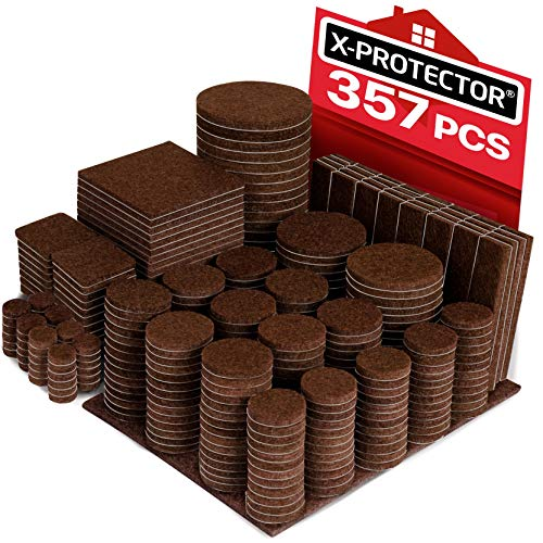 X-PROTECTOR 357 pcs Premium HUGE PACK Felt Furniture Pads! HUGE QUANTITY of Felt Pads For Furniture Feet with MANY BIG SIZES - Your IDEAL Wood Floor Protectors. Protect Your Hardwood & Laminate Floor! (Dining Room Crescent Furniture)