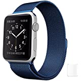 J Replacement Milanese Loop Band Strap Watch Strap For Apple Watch iWatch Series 1, Series 2 , Series 3 42MM Blue Plus Screen Guard (Watch Not Included)