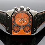 Oulm Man's Fashion Watch with 3 Quartz Movement Dial Leather Band --HP9315 orange