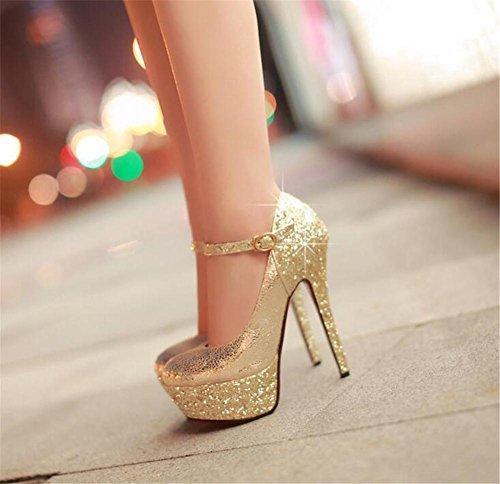 Damenschuhe Pailletten Plattform Fesselriemen Stiletto-Absatz Kleid Party Verein Pumpengröße 35 bis 38 Gold