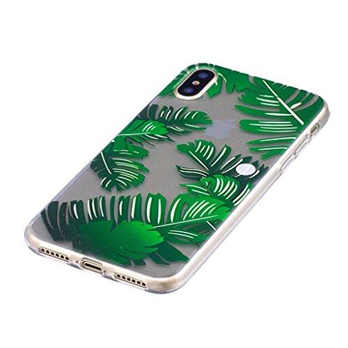 Pour Apple iPhone X (5,8 pouces) Coque , ZXLZKQ Les feuilles de bananier Souple TPU Cas Transparente Protection Shell Gel Doux Silicone Cover Case Housse Étui pour Pour Apple iPhone X (5,8 pouces)