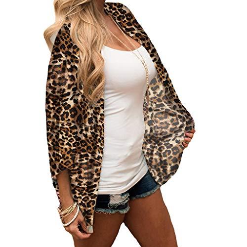 VRTUR Mujeres Gasa Estampado de Leopardo Kimono S-3XL Suelta Media Manga Chal Cardigan Cover Up: Amazon.es: Ropa y accesorios