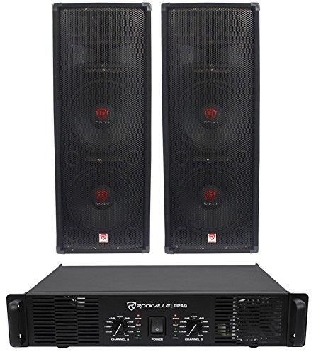 "2) Rockville RSG12.28 Dual 12"" 2000W PA Speakers+Rockville"