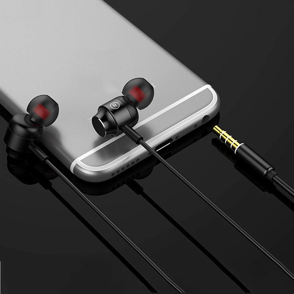 (2 Pack) Metal 3.5mm Wired Earbuds/Earphones/Headphones with Microphone and Volume Control Compatible for iPhone iPad iPod Laptop Samsung Galaxy Android Phone Mp3 Mp4 Player(Black+Rose Gold)