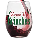 Drink Up Grinches Clear Stemless Wine Glass for Fun Christmas Holiday Present with Gift Box - 15 Ounces