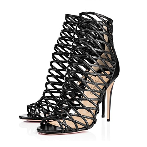 High Stiletto 9 Black Sandals Women's Gladiator Pumps Heel Size Dress Open Toe Ankle Joogo Shoes qfCp0