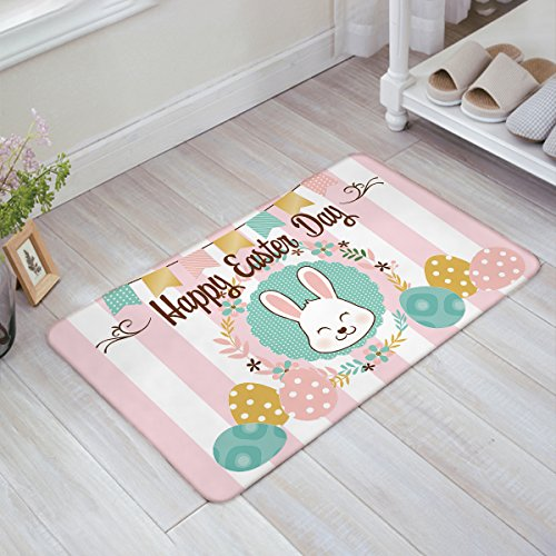 Custom Doormats Easter day cute rabbit animal Indoor/Outdoor/Entry Way Bathroom Mats Rubber Non-woven Fabric Non - Rabbit Fillets