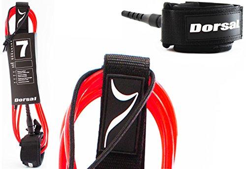 Dorsal Premium ProComp Surfboard Lightweight, Kink-free, Surf Leash - Red 7 FT / Red