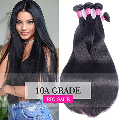 - 10A Brazilian Remy Straight Hair 4 Bundles 24 26 28 30inch Unprocessed Virgin Brazilian Human Hair Weave Weft Long Straight Hair Extensions Natural Black Color