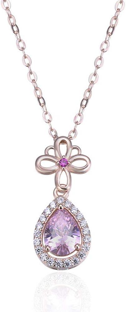 XKA Collar con Lágrima Plata S925, Plated Rose Gold Colgante Collar Piedra Nacimiento Morada, para Cualquier Ocasión Regalo Día San Valentín Navidad