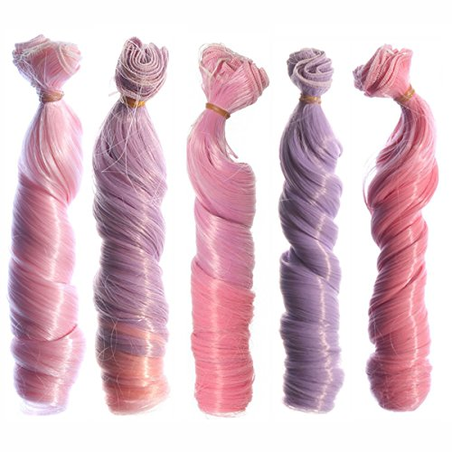 5pcs/lot,15x100cm Curly Heat Resistant Doll Hair Wefts for DIY Doll Wigs Different Colors for Choice (023-5pcs-03)