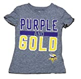 "Minnesota Vikings Gray Palladium Girls Kids Primary Logo""Purple and Gold"" V Neck T Shirt"