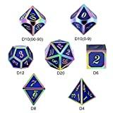 Rainbow Metal DND Game Dice Set,DND 7PCS Metallic