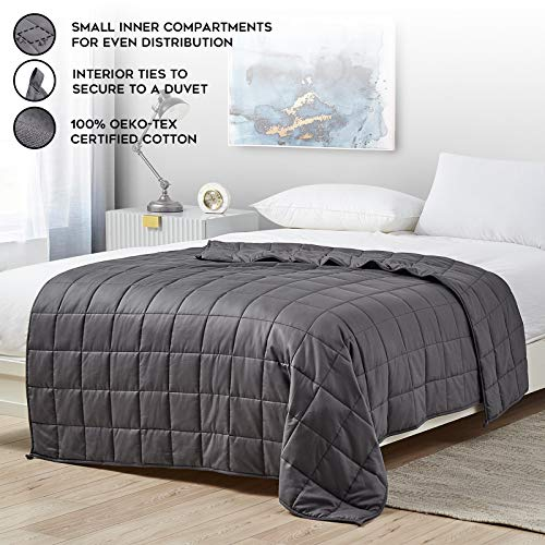 YnM Weighted Blanket — Heavy 100% Oeko-Tex Certified Cotton Material with Premium Glass Beads (Dark Grey, 48''x72'' 15lbs), Suit for One Person(~140lb) Use on Twin/Full Bed …