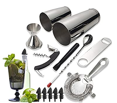 Tiger Chef 14-piece Stainless Steel Bar Set and Cocktail Making Set Includes Bar Tools and Accessories