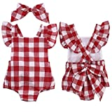 Newborn Baby Girl Clothes  Vintage Bowknot Plaid Romper Bodysuit Summer Jumpsuit Outfit (3-6Months, Red)