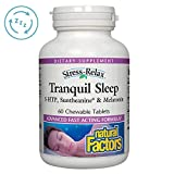 Stress-Relax Chewable Tranquil Sleep by Natural Factors, Sleep Aid with Suntheanine L-Theanine, 5-HTP, Melatonin, Tropical Fruit Flavor, 60 Tablets (30 Servings)