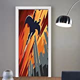 Gzhihine custom made 3d door stickers Vintage Decor Silhouette of Superhero over Apartments in Sky Night Fiction Comic Image Red Orange Grey For Room Decor 30x79