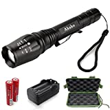 LED Tactical Flashlight,Akaho XML T6 Portable Outdoor Water Resistant Ultra Bright Torch with Adjustable Focus and 5 Light Modes,Rechargeable 18650 Lithium Ion Battery and Charger