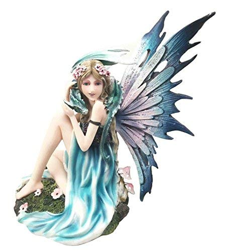 (Ebros Water Elemental Fairy With Green Dragon Statue 7