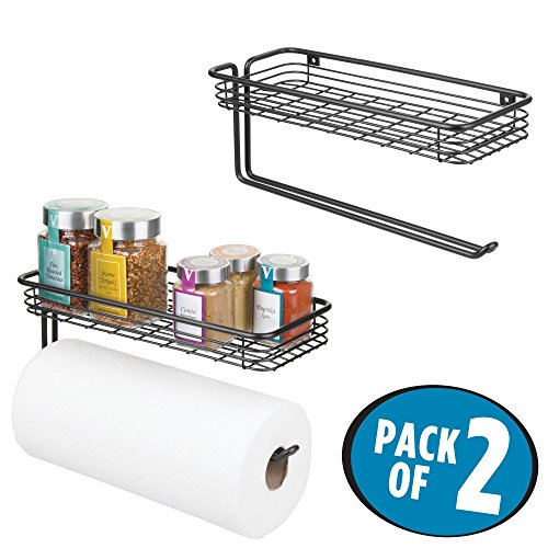 Fresh Herb Towels (mDesign Paper Towel Holder with Spice Rack and Multi-Purpose Shelf - Wall Mount Storage Organizer for Kitchen, Pantry, Laundry, Garage - Durable Steel Wire Design, Pack of 2, Matte Black)