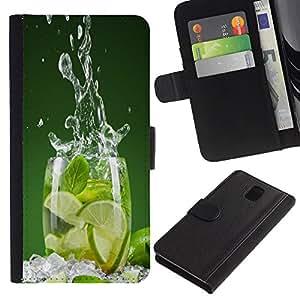 KLONGSHOP // Tirón de la caja Cartera de cuero con ranuras para tarjetas - LIME SPLASH - Samsung Galaxy Note 3 III //