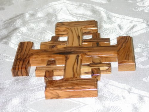 Jerusalem Cross Olive Wood Holy Land Handmade Bethlehem Crusaders' Cross