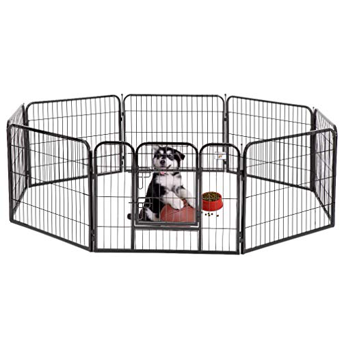 Box Whelping Puppy (BestPet Black 24 Heavy Duty Pet Playpen Dog Exercise Pen Cat Fence)