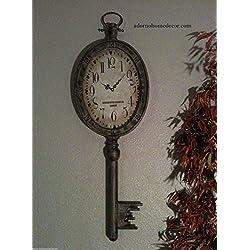 Large Elegant Metal Key Clock Wall Decor Antique Vintage Industrial