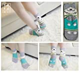 One Pair Women Fashion Cute Fun Animal 3D Dog Cotton Soft Crew Socks (Grey)