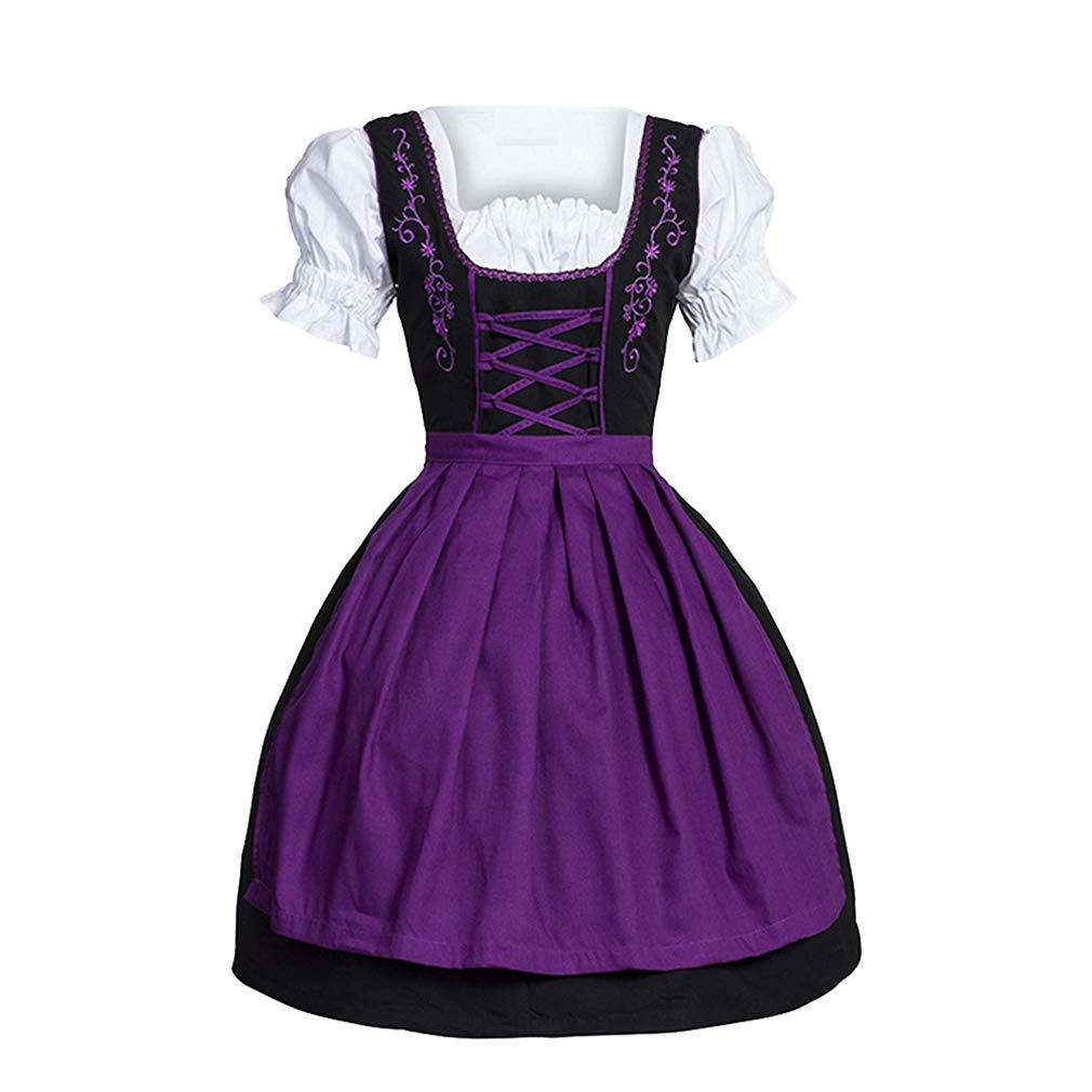 Hibote Vestito Dirndl per Donna Maniche Corte Bavarese Dirndl per Oktoberfest Carnevale Abito Tradizionale da Donna in Dirndl Costumi