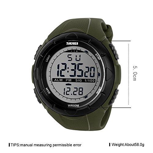 bafd1dfbc85eb9 iWatch, orologio da uomo, impermeabile fino a 50 m, digitale, LED, sveglia,  calendario, orologio sportivo con cinturino in silicone, verde esercito, ...