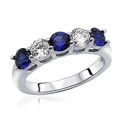Sterling Silver Rhodium Plated, Wedding Ring Simulated Blue Sapphire CZ Five Stone Anniversary Ring Band