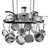 VDOMUS Pot Rack Ceiling Mount Cookware Rack Hanging Hanger Organizer with Hooks (33''x17'')