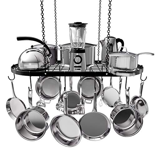 "VDOMUS Pot Rack Ceiling Mount Cookware Rack Hanging Hanger Organizer with Hooks (33""x17"")"