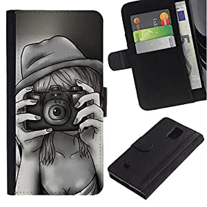 Billetera de Cuero Caso Titular de la tarjeta Carcasa Funda para Samsung Galaxy Note 4 SM-N910 / Retro Vintage Selfie Painting / STRONG
