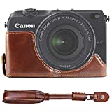 First2savvv XJD-EOSM2-D10S10 dark brown Leather Half Camera Case Bag Cover base for Canon EOS-M2. EOS M2 + camera strap