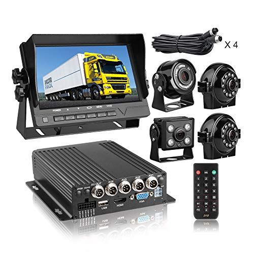 GISION MDVR Kit 4 Channel 1080P Two SD 512GB Mobile Vehicle Car DVR Video Recorder with Night Vision Waterproof Front Side Rear View Camera 7 inch HD Monitor