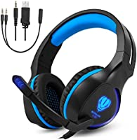Zenoplige SL-100 Gaming Headset with Mic and LED Light, Self-Adjustable Leather Earmuff Stereo Sound Noisy Isolation for XBOX ONE/PS4/Nintendo Switch/PC/Ipad/Mac/Mobile Devices (SL-100BLUE)