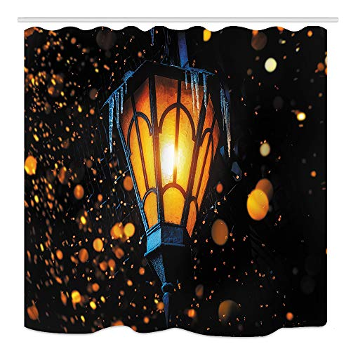 KOTOM Magic Fairy Lantern Bath Curtains, Old Street Lantern Shines on Street at Night on House Wall Christmas Or Halloween Deocr, Fabric Shower Curtain, 69X70 in Bathroom Decor with Hooks ()