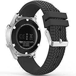 Gear S3 Frontierclassic Watch Band, Moko Soft Silicone Replacement Sport Strap For Samsung Gear S3 Frontiers3 Classic Smart Watch, Not Fit S2 & S2 Classic Watch, Not Fit Gear Fit2 Watch, Black