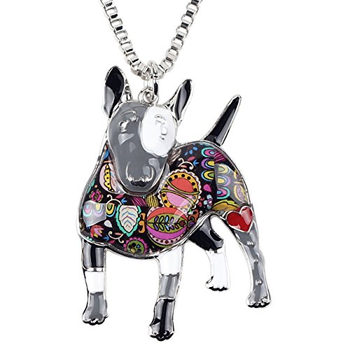"Bonsny Collection ""BOWSER"" Love Heart Enamel Alloy Pets English Bull Terrier Dog Necklace Animal Women pendant 18"" … (Grey)"