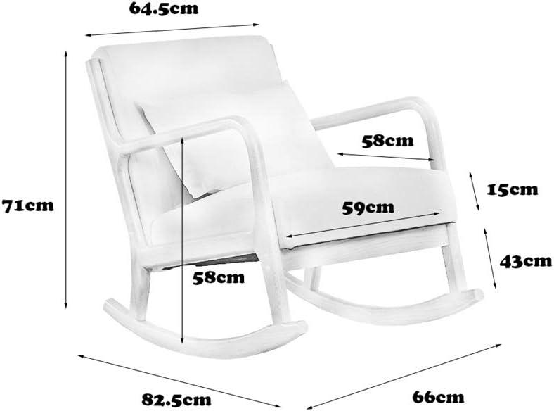 En Bois Massif Fauteuil À Bascule Simple Et Moderne Lazy Casual Pause Déjeuner Chaise Agréable Pour La Peau Et Confortable,Dark gray Beige