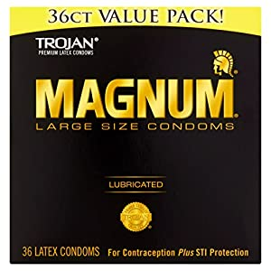 TROJAN Magnum Lubricated Latex Condoms, Large Size, 36 Count (Value Pack)