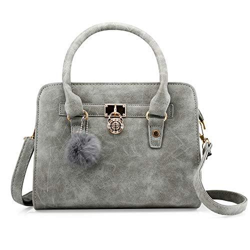 - OCT 17 Lady Women Lock Faux Leather Tote Hobo Shoulder Bag Purse fur ball Satchel Fashion Luxury Handbag - Gray