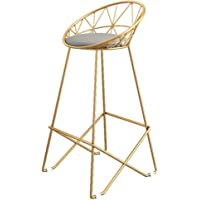Qing MEI Simple Bar Stool Wrought Iron Bar Chair Gold High Stool Modern Dining Chair Lounge Chair High Stool Padded Dining Chair