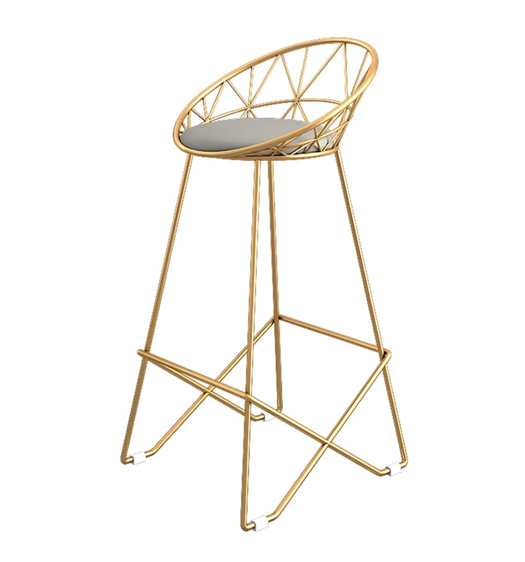 Barstools Chair Footrest High Stool Upholstered Dining Chairs as Stool for Kitchen | Pub | Breakfast Stool | Gray Faux Leather Seat Gold Metal Legs | Max Load 150kg (Color : 75cm)