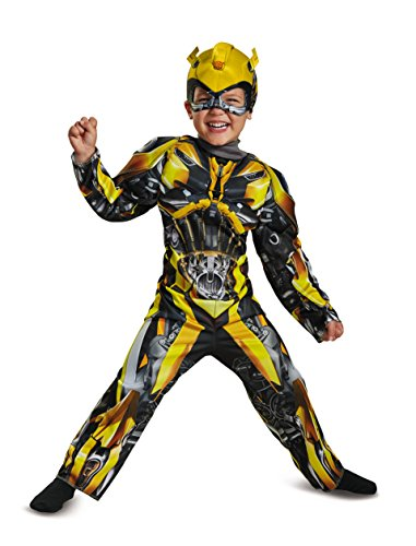 Disguise Bumblebee Movie Toddler Muscle Costume, Yellow, Medium (3T-4T) (Toddler Bumblebee Transformer Costume)