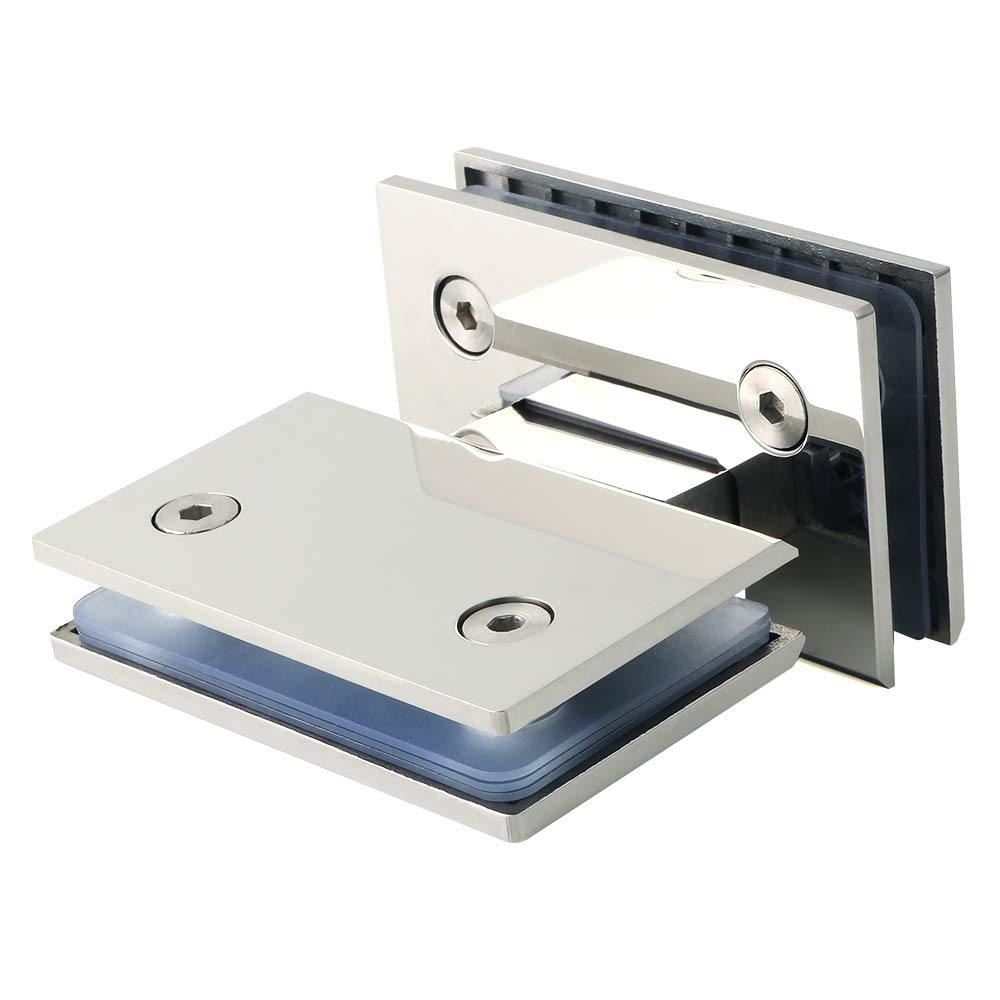 Sayayayo EBL6600-C - Bisagra para puerta de cristal de 180 grados para armario o ducha, acabado en acero inoxidable cromado Sayayo