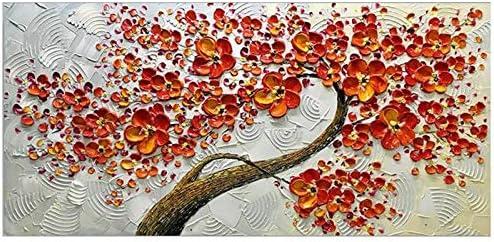 JIUYUE Decoración de la Pared Pintura Flor Cuadro de la Pared espátula Pintura al óleo Pintada la decoración del hogar Sala de Estar roja de la Mano de Pintura Moderna de la Lona